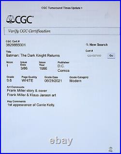 Batman The Dark Knight Returns #1 CGC 9.6 DC 1986 Custom CGC DC Holder