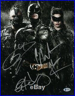 Christian Bale Tom Hardy Anne Hathaway Dark Knight Signed 11x14 Photo Bas Coa