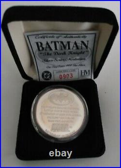DC BATMAN THE DARK KNIGHT 1oz. SILVER (Num. 0903/5000) Coin Highland Mint! RARE