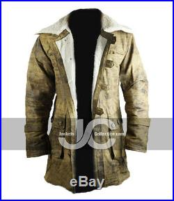 Men's Tom Hardy Bane The Dark knight Rises Genuine Leather Buffing Trench Coat