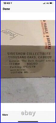 Sideshow 1/1 The Dark Knight Batman Bust. Cape Never Displayed